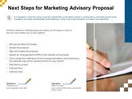 Next Steps For Marketing Advisory Proposal Ppt Powerpoint Presentation Styles