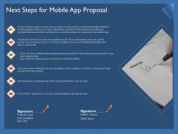 Next Steps For Mobile App Proposal Ppt Powerpoint Presentation File Format Ideas