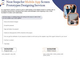 Next Steps For Mobile App Screen Prototypes Designing Services Ppt Powerpoint Professional