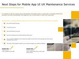 Next Steps For Mobile App UI UX Maintenance Services Ppt Demonstration