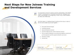 Next Steps For New Joinees Training And Development Services Ppt Powerpoint Images