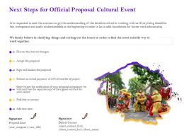 Next Steps For Official Proposal Cultural Event Ppt Powerpoint Presentation Gallery Infographics