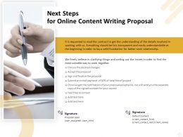 Next Steps For Online Content Writing Proposal Ppt Powerpoint Guidelines