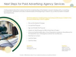 Next Steps For Paid Advertising Agency Services Ppt Powerpoint Presentation Show Professional