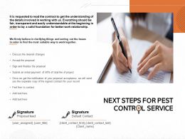 Next Steps For Pest Control Service Ppt Powerpoint Presentation Layouts Ideas