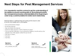 Next Steps For Pest Management Services Ppt Graphics Example