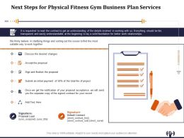 Next Steps For Physical Fitness Gym Business Plan Services Ppt Layouts