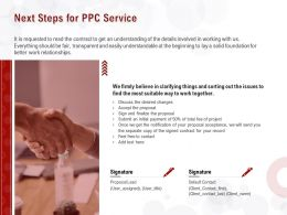 Next Steps For PPC Service Ppt Powerpoint Presentation Infographic File