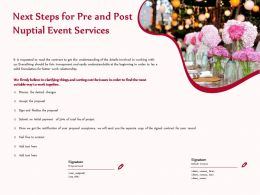 Next Steps For Pre And Post Nuptial Event Services Ppt Gallery
