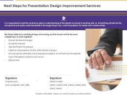 Next Steps For Presentation Design Improvement Services Ppt Powerpoint Example