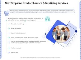 Next Steps For Product Launch Advertising Services Ppt Powerpoint Presentation Icon Picture