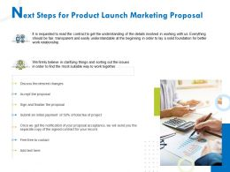 Next Steps For Product Launch Marketing Proposal Ppt Gallery