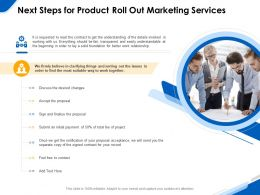Next Steps For Product Roll Out Marketing Services Ppt Powerpoint Gallery Icons