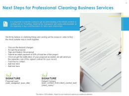 Next Steps For Professional Cleaning Business Services Contract Ppt File Design