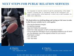 Next Steps For Public Relation Services Ppt Powerpoint Presentation Ideas Show