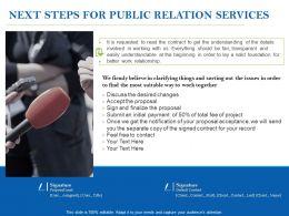Next Steps For Public Relation Services Ppt Powerpoint Presentation Ideas Show