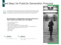 Next Steps For Publicity Generation Proposal Ppt Powerpoint Presentation Infographics