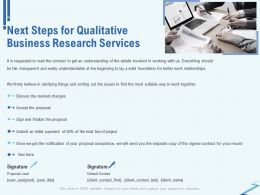 Next Steps For Qualitative Business Research Services Ppt File Format Ideas
