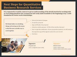 Next Steps For Quantitative Business Research Services Ppt Ideas