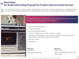 Next Steps For Radio Advertising Proposal For Product Sale Increment Services Ppt Styles Slides