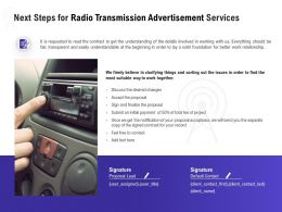 Next Steps For Radio Transmission Advertisement Services Ppt Infographics