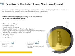 Next Steps For Residential Cleaning Maintenance Proposal Ppt Gallery