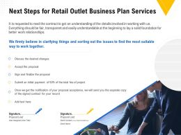Next Steps For Retail Outlet Business Plan Services Ppt Powerpoint Presentation Outline