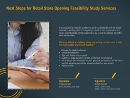 Next Steps For Retail Store Opening Feasibility Study Services Ppt Powerpoint Portfolio
