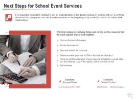 Next Steps For School Event Services Ppt Powerpoint Presentation Styles Model