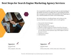 Next Steps For Search Engine Marketing Agency Services Ppt File Formats