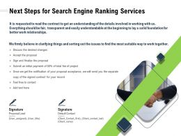 Next Steps For Search Engine Ranking Services Clarifying Ppt Powerpoint Presentation Template