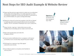 Next Steps For SEO Audit Example And Website Review Ppt Powerpoint Icon Vector