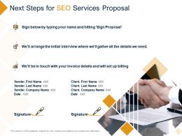 Next Steps For SEO Services Proposal Ppt Powerpoint Presentation Professional