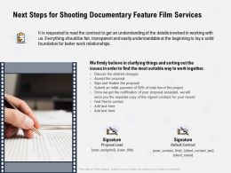 Next Steps For Shooting Documentary Feature Film Services Transparent Ppt Powerpoint Presentation Shapes