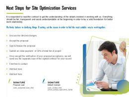 Next Steps For Site Optimization Services Ppt File Design