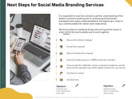 Next Steps For Social Media Branding Services Ppt Powerpoint Model Samples