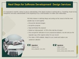 Next Steps For Software Development Design Services Ppt Icon