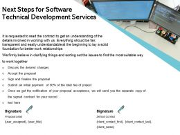 Next Steps For Software Technical Development Services Ppt Model