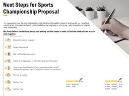 Next Steps For Sports Championship Proposal Ppt Powerpoint Presentation Gallery