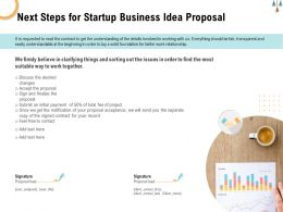 Next Steps For Startup Business Idea Proposal Ppt Powerpoint Presentation Model Layout Ideas