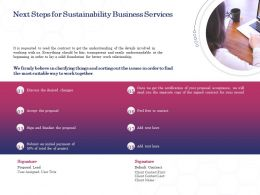 Next Steps For Sustainability Business Services Ppt Powerpoint Presentation Icon Outfit