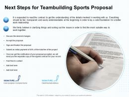 Next Steps For Teambuilding Sports Proposal Ppt Powerpoint Presentation Styles Example