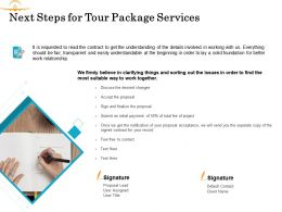 Next Steps For Tour Package Services Ppt Powerpoint Presentation Gallery Files