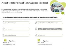 Next Steps For Travel Tour Agency Proposal Ppt Powerpoint Presentation Gallery Show