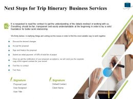 Next Steps For Trip Itinerary Business Services Ppt Powerpoint Presentation Gallery
