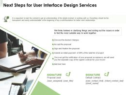 Next Steps For User Interface Design Services Ppt Powerpoint Presentation Show Design