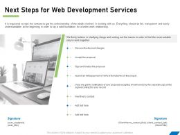 Next Steps For Web Development Services Ppt Powerpoint Presentation File Example Topics