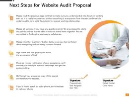 Next Steps For Website Audit Proposal Ppt Powerpoint Presentation Background Designs