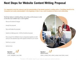 Next Steps For Website Content Writing Proposal Ppt Powerpoint Presentation Professional Skills