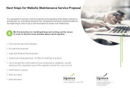 Next Steps For Website Maintenance Service Proposal Tecnology Ppt Slides